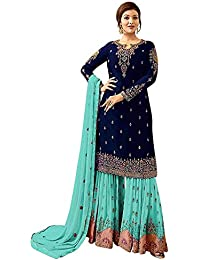 f7298b9d9e12c0 Life Women s Georgette Embroidered Unstitched Sharara Palazzo Salwar Suit  Material (580011