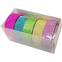 rodillo DIY encaje satinado cinta decorativa - Sannysis Cinta de dibujos animados etiqueta de papel, 5 piezas, color al azar
