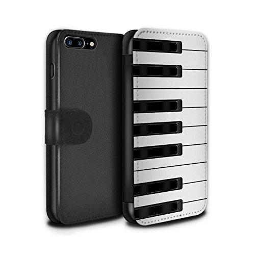 STUFF4 PU-Leder Hülle/Case/Tasche/Cover für Apple iPhone 8 Plus / Tastatur Muster / Schaltfläche/Tasten Kollektion Klavier/Piano