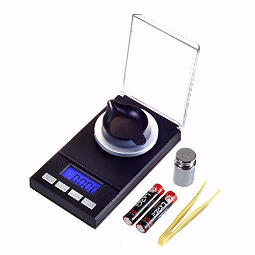 50 X 0.001g Bilancia Digitale Milligrammi, Bilancia Milligrammo Precisione Tasca Scale Gioielleria Diamantata con Calibrazione del Peso, Pinzetta,Base di Pesatura E Batterie (0.001-50g)
