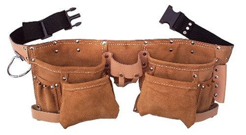 10 Pocket Double Leather Tool Belt by TOOLTIME (Tool Leather Pocket 10)