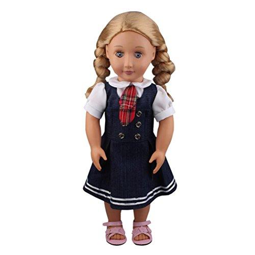 mingfa 45,7cm Puppenkleider 2pc Student Kleidung Denim Kleid Uniform Outfit Puppe Zubehör für unsere Generation American Girl Puppe (Denim Taschen Steigen)