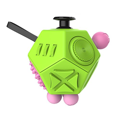 Fidget Dice II 12 Sides Anti-anxiety and Depression Toys for Children and Adults (Green)