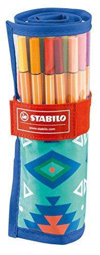 Fineliner - STABILO point 88 - 25er Rollerset Festival Spirit in blau/türkis - mit 25 verschiedenen Farben
