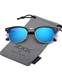 55a1080351 SOJOS Gafas de sol polarizadas sin montura Clubmaster Semi lente  transparente SJ5018
