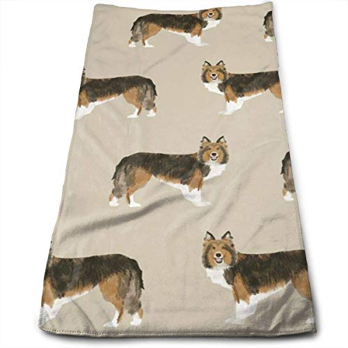 WTZYXS Sheltie Sable and White Shetland Sheepdog Design Cute Sheltie Dog Hand Towels Dishcloth Floral Hand Towels Super Soft Extra Absorbent for Bath,Spa and Gym 12