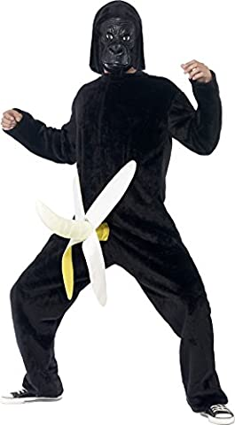 Smiffy's 43402 - König Dong Kostüm Bodysuit mit angebaute Bananen-und Latex-Maske (Banana Gorilla-kostüm)