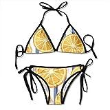 Rghkjlp Women Sexy Swimwear Set Orange Ppattern Blue Stripes Tie Side Padding Bathing Swimsuit