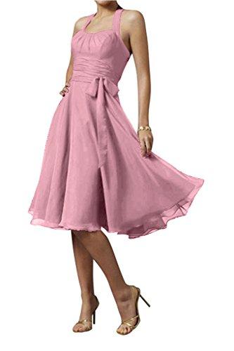 Gorgeous Bride Modern Chiffon Knielang Neckholder Schleife Cocktailkleid Partykleid Abendkleid-38...