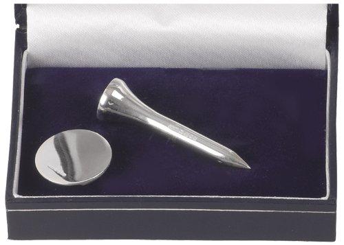silver-plate Tee da golf e marcatore set. Con Custodia Di Presentazione. Ideale Argento Regalo Di