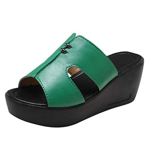 Mitlfuny Damen Sommer Sandalen Bohemian Flach Sandaletten Sommer Strand Schuhe,Frauen Freizeitschuhe Plattform Keile Fischmaul Sandalen Dicker Boden Hausschuhe Pointe Womens Slip