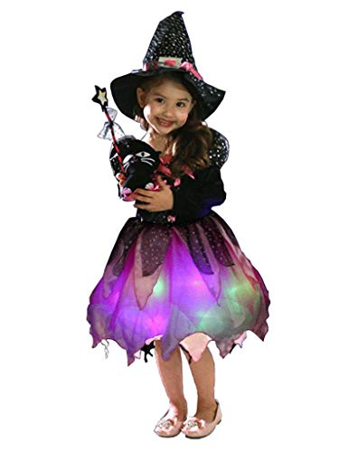 Wantschun Mädchen Kinder Karneval Fasching Kostüm Set LED leucht Hexe Kleid + Hut + Beutel + Zauberstab (Etikettengröße 120) (Halloween-kostüme Hexe Light Up)