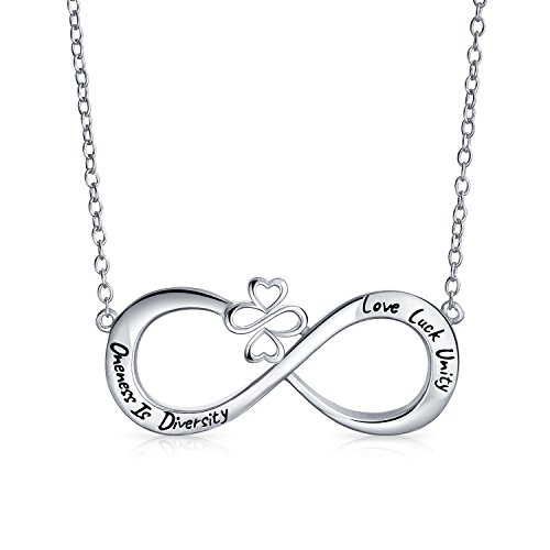 Station Nachricht (AYLLU 925er Sterlingssilber Silber öffnen Infinity Motiv Vielfalt Nachricht Halskette)