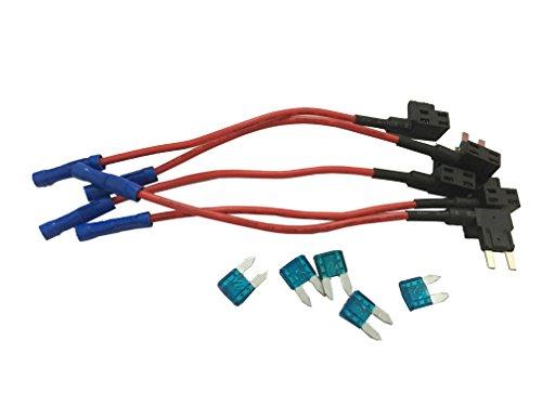 KOLACEN Automotive Car Truck 5 Stück 16 Gauge Add-a-Schaltung Sicherung TAP Adapter für Mini Blade Typ Sicherung + 5 Stück 15Apm Mini Sicherung Atc Mini Blade Fuse