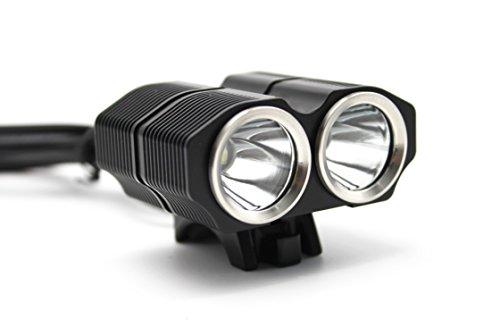 WEWOM X2+ LED Fahrradbeleuchtung, 2400 Lumen mit Schnellbefestigung und 4800 mAh Lithium-Ionen-Akku Schwarz