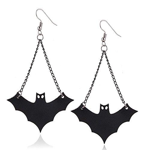 BONYTAIN 1 Par Vintage Negro PU Bate Bat Pendientes colgantes para Mujer Gótico Drop Pendientes Niñas Halloween Joyería