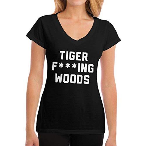 Henrnt Damen T-Shirt, Womens V-Neck T-Shirt Tiger Fcuking Woods Summer Printed Short Sleeves Cotton Casual Tops - Tiger Woods Golf-hose