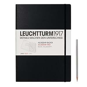 Leuchtturm1917 343491 Academy Block (DIN A4, 100 g/m² Papier, Lineatur: liniert, weitere Lineaturen auswählbar) 60 Bögen, schwarz