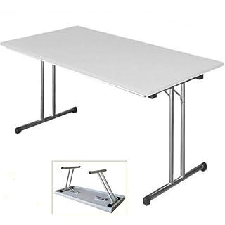 KLAPPTISCH Besprechungstisch Kantinentisch Verkaufstisch Schreibtisch 160x80 Platte Lichtgrau/Stahl-Gestell chrom 350620