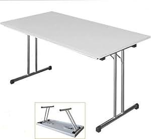 Table pliante table de réunion Cantine Table vente Table Bureau 120x 80gris clair/structure en acier chromé 350590