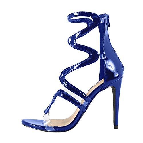 Damen Open Toe Römersandalen High-Heels Stiletto Lackleder Reißverschluss Blau