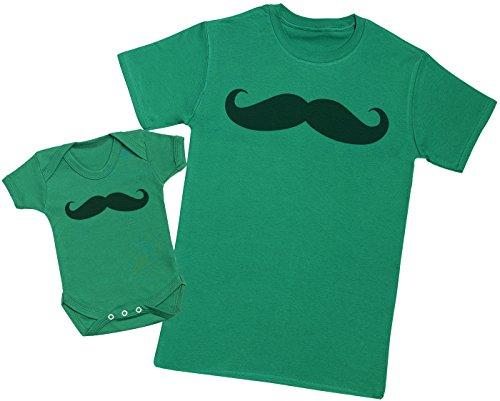 Zarlivia Clothing Baby and Daddy Moustache - Ensemble Père Bébé Cadeau - Hommes T-Shirt & Body bébé - Vert - XL & 0-3 Mois