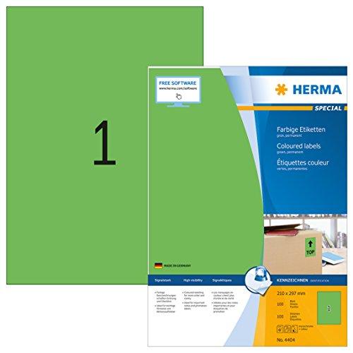 Herma 4404 Farbetiketten (210 x 297 mm, Format DIN A4, Papier matt) 100 Stück auf 100 Blatt, grün, bedruckbar, selbstklebend