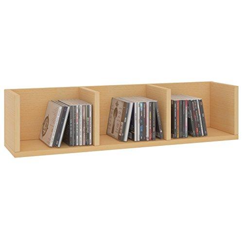 CARO-Möbel CD DVD Regal Stars Wandregal Hängeregal mit 3 Ablagefächern in buchefarben, Dekorationsregal -