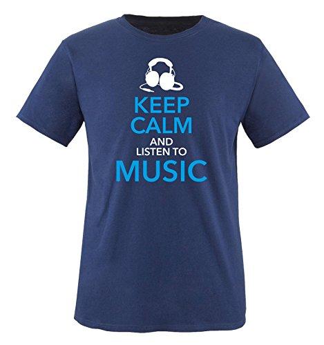Comedy Shirts - KEEP CALM... MUSIC - Uomo T-Shirt maglietta - taglia S-XXL different colors blu navy / bianco-blu-blu