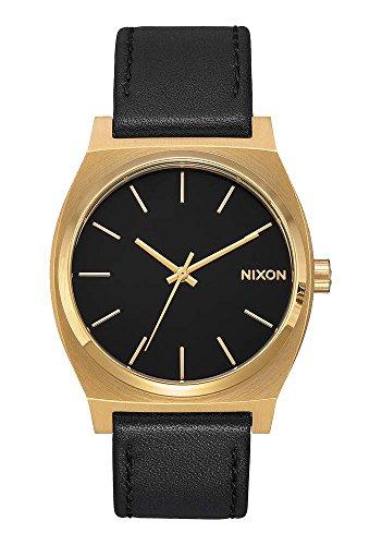 nixon-time-teller-leather-37mm-black-gold-orologio-unisex