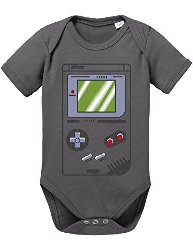Game Bam 16-Bit Nostalgie SNES Mario Super Kart 8-Bit Yoshi Boy Baby Strampler Body, Größe:80;Farbe:Grau