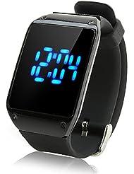SHOPINNOV Montre LED Tactile LED bleues Bracelet noir Cadran noir