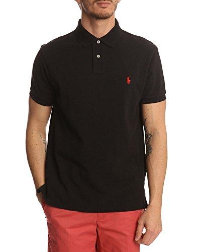 Ralph Lauren Herren Kurzarm Polo - Classic Fit - Solid Mesh (XXL, Schwarz / Black (Red Pony) / Negro (Noir)) - Shirt, Classic-fit Lauren Ralph