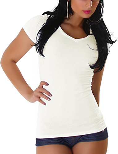 JL Stretchy Basic V-Neck Shirt, Cream L - Creme Baumwolle Mischung