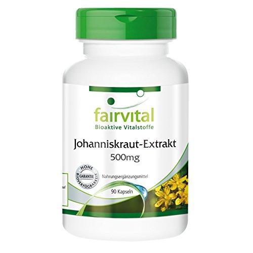 Johanniskraut-Extrakt 500mg - standardisierter Extrakt mit Hypericin - 90 vegetarische Kapseln - spendet Ruhe bei mentaler Anspannung