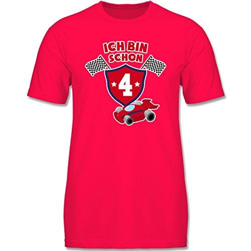 Geburtstag Kind - Ich Bin Schon 4 Rennauto - 98 (2-3 Jahre) - Rot - F140K - Jungen T-Shirt (Ebene Shirt 2)