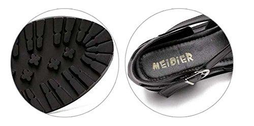 Pompe gladiateur Plate-forme épaisse talon compensé creux romain Des sandales Femmes mode Round Toe Sangle de cheville creux Chaussures de cour chaussures décontractées Eu Taille 35-40 Black
