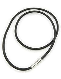 5mm Kautschukband Gummi Kautschukkette schwarz mit Steckverschluss Halskette