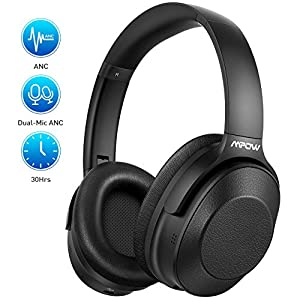 [Upgraded] Active Noise Cancelling Headphones, H12 Bluetooth Headphones Over Ear, Wireless Headphones with Hi-Fi Deep Bass, Soft Protein Earpads, 30H playtime for Cellphone TV PC Travel Work