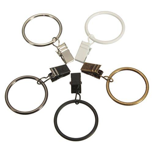 """20 Stück 1.5 """" Zoll Metall Chrom Dusche Vorhang Ringe Mit Klammer Fenster Vorhang Kleider Hängend Ring Clips Haken (Weiß)"""