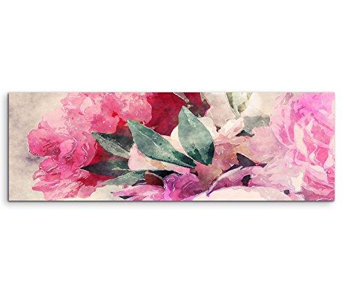 Leinwandbild 150x50cm Bild – Rosen und Pfingstrosen in Wasserfarben Optik
