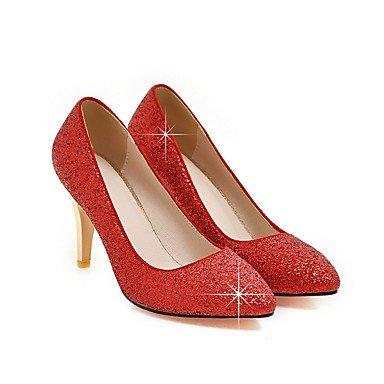 LYNXL Talloni delle donne Primavera Estate Autunno Inverno Wedding sintetica di feste ed abito da sera con paillettes Stiletto Heel Nero Rosso Argento Oro Black