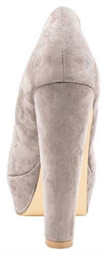Elara Damen Plateau Pumps | Bequeme High-Heels | Wildlederoptik Blockabsatz Grau