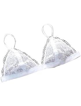 Koly Las mujeres florales escarpado encaje triángulo sostén superior de malla lencería forro