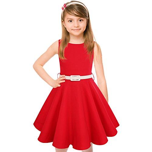HBBMagic Maedchen Audrey 1950er Vintage Baumwolle Kleid Hepburn Stil Kleid Blumen Kleid Tupfen Kleid, Rot, 9-10 Jahre/135-142CM (Mädchen Kleid Kind)