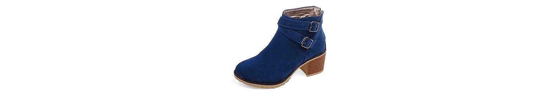 XIAOGANG H HFour Seasons Women (negro.) Beige. Azul. (amarillo) hebilla de cinturón matorral grueso talón botas... -