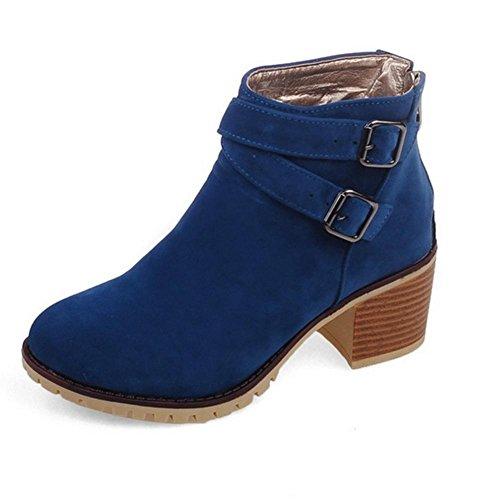 H H Vier Jahreszeiten Frauen (schwarz.) Beige. Blau. (gelb) Gürtel Schnalle Peeling grobe Stiefel Non-Slip tragen Gummi unten , blue , 39 (Blau-peeling Scrubs)