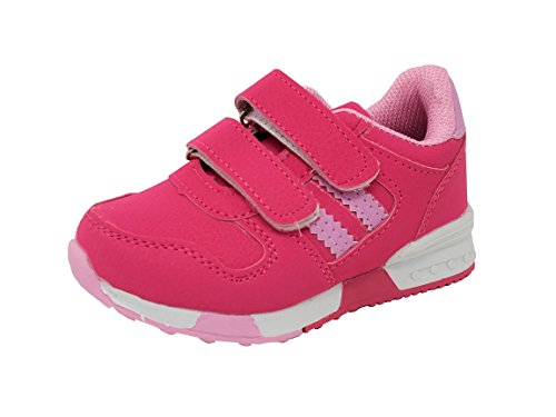 Carcassi Childrens Kids Boys Girls Sports Running Trainers PE Gym Shoes Casual Sneakers (9 Child UK, Pink)