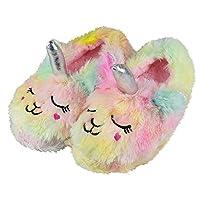 Tirzrro Girls/Kids Cute Unicorn Slippers with Warm Plush Fleece House Slip-on Shoes Size: 10-11 Little Kid