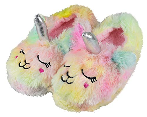 Tirzro Girls/Kids Cute Unicorn Slippers with Warm Plush Fleece House Slip-on Shoes
